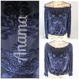 ANAMA On or Off Shoulder Deep Blue Velvet top/S